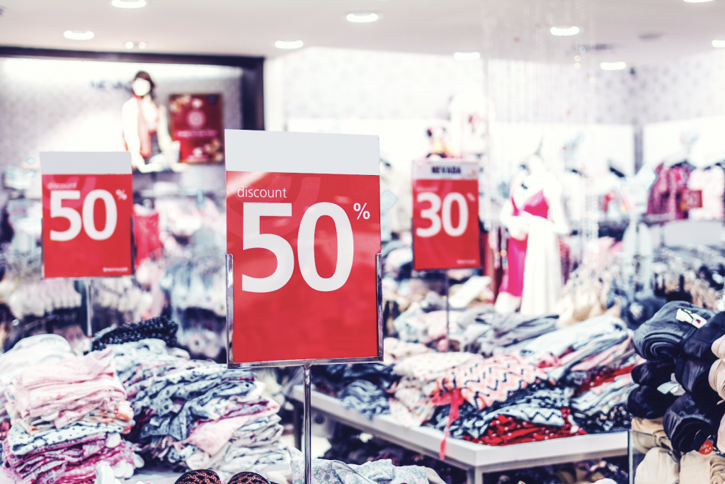 Discount signs in a clothing store