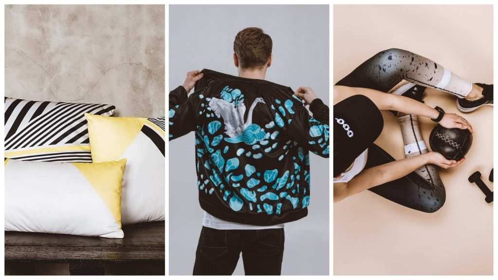 all over print throw pillows bomber jacket and leggings