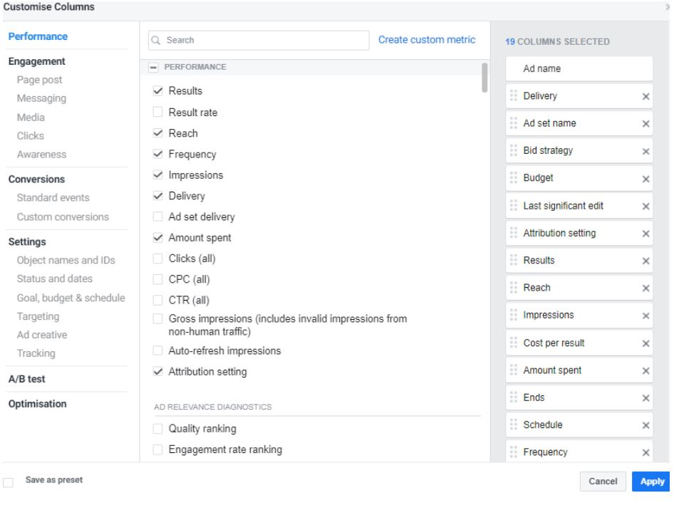 Customise Columns in Facebook Ads Manager