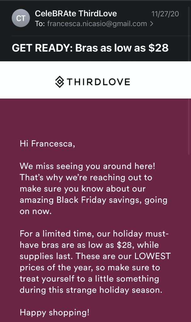ThirdLove 2020 offer in an email