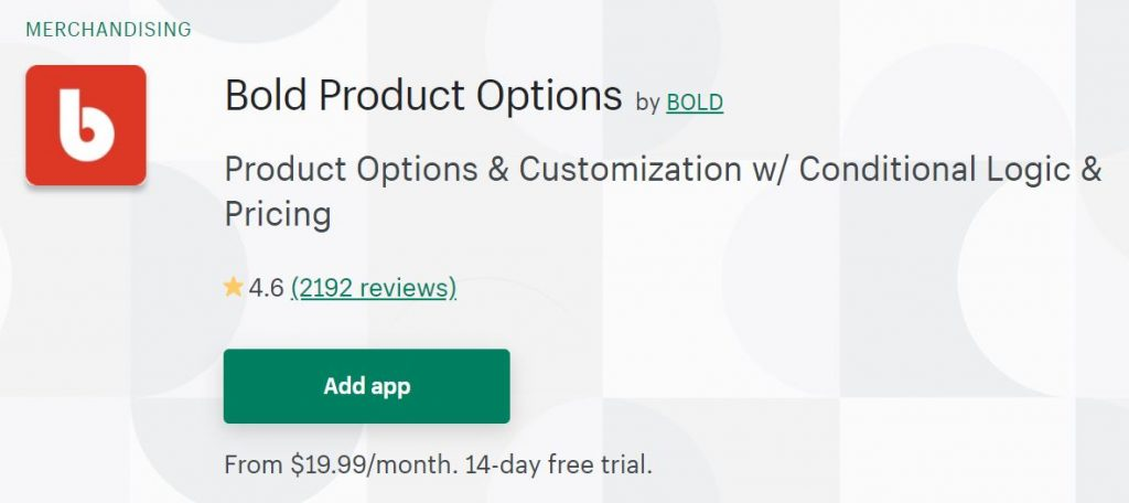 Shopify Bold Product Options
