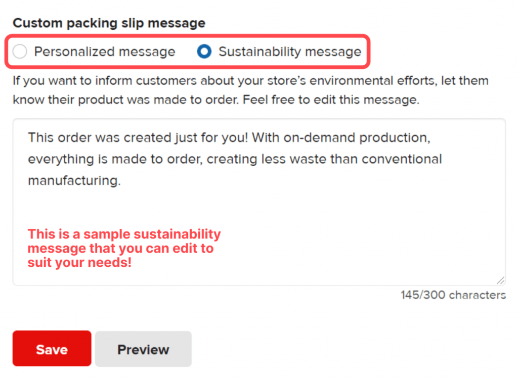 packing slip message UI with sustainability message example