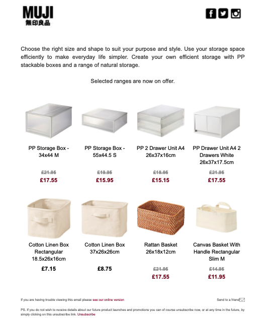 MUJI promotional email