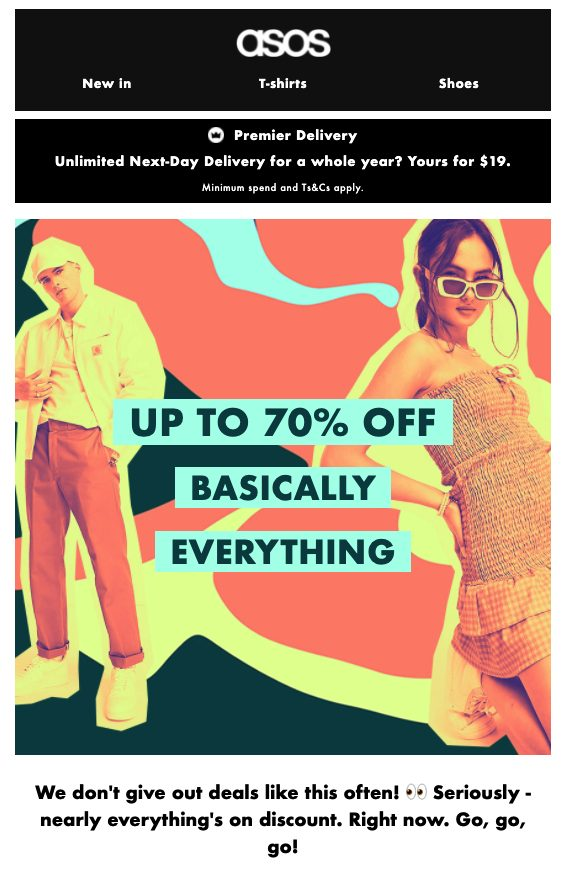 Asos promotional email