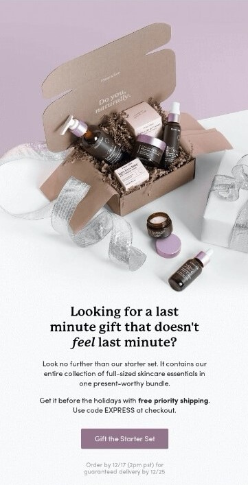 Example email of last minute gifts
