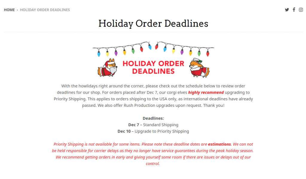 Holiday deadlines in store