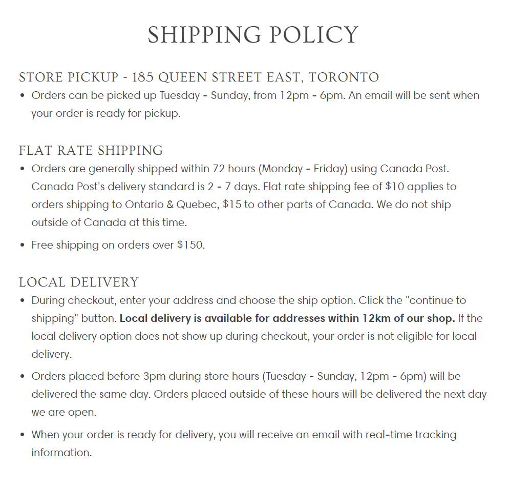 Updated shipping policy in store