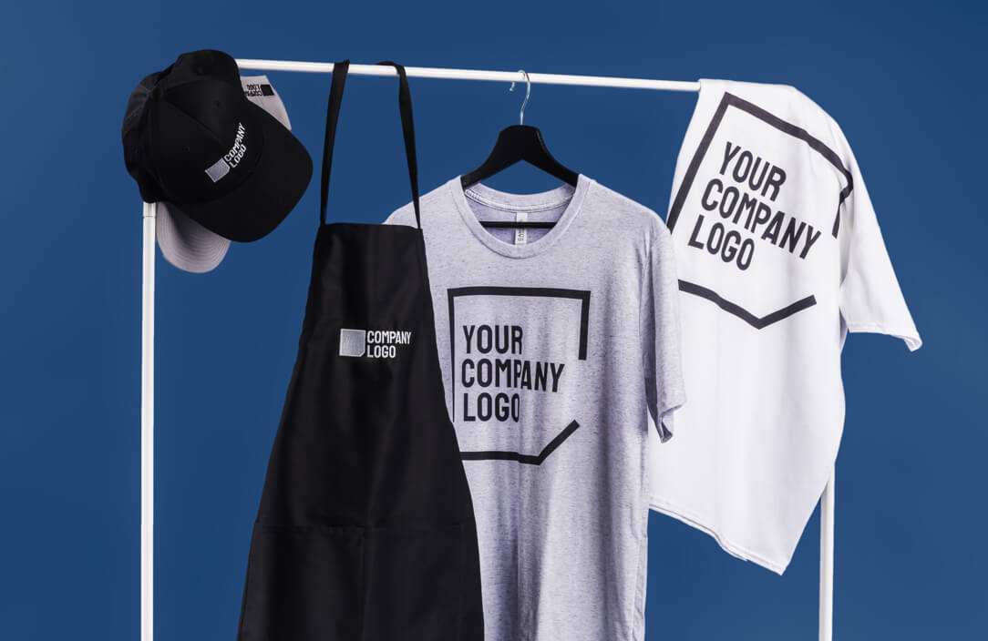 Company branded embroidered hat and apron, printed t-shirts