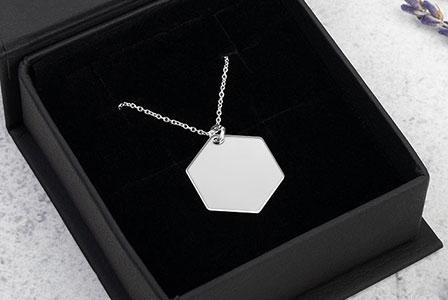 create custom silver hexagon necklace